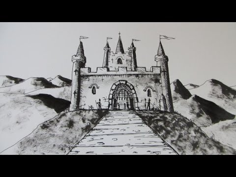How to Draw a Castle: Step by step - YouTube