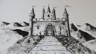 How to Draw a Castle: Step by step