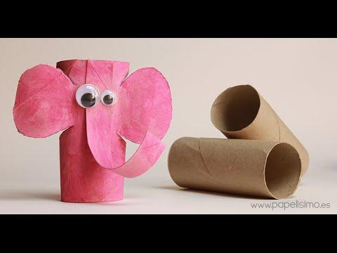 Elefante manualidades con rollos papel higi nico youtube - Manualidades rollos de papel ...