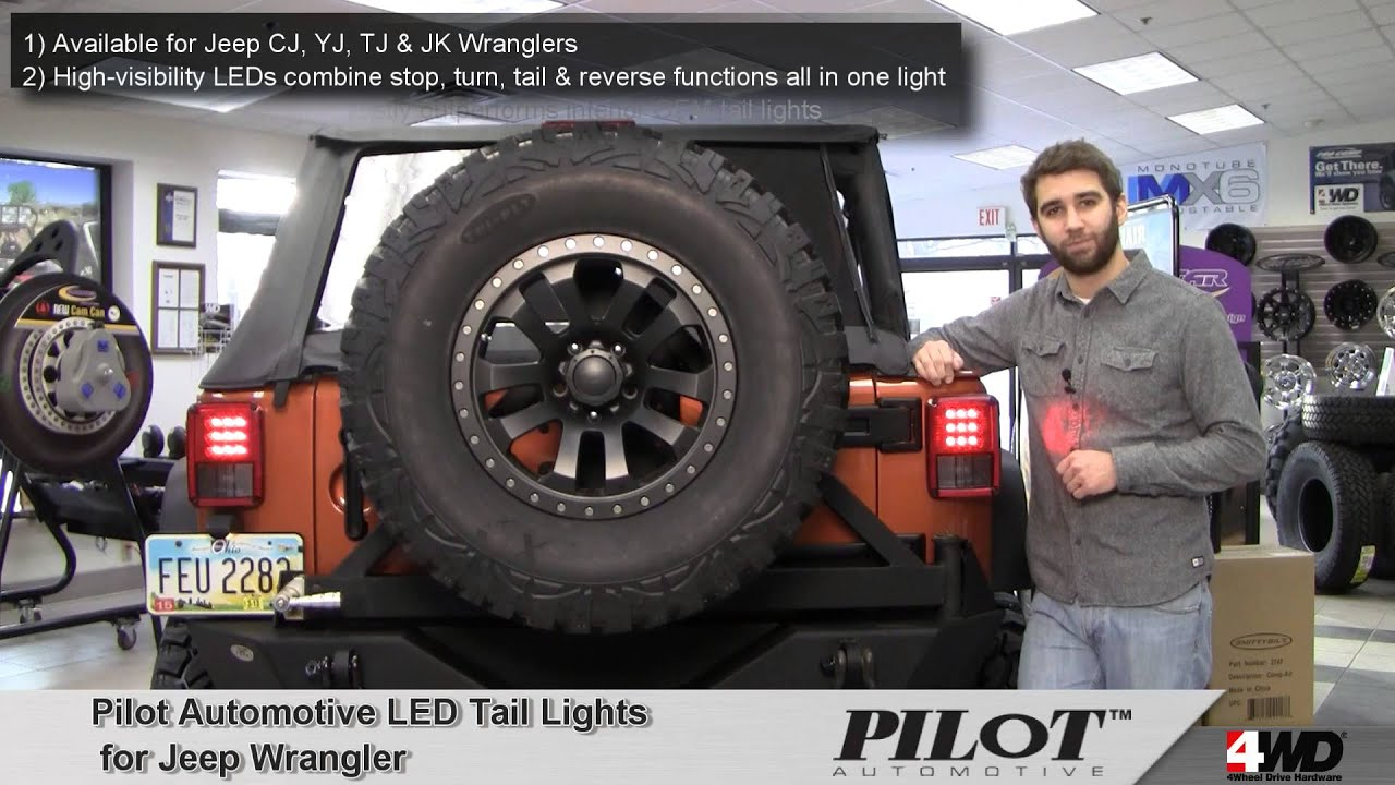 pilot automotive led tail lights for jeep wrangler youtube. Black Bedroom Furniture Sets. Home Design Ideas
