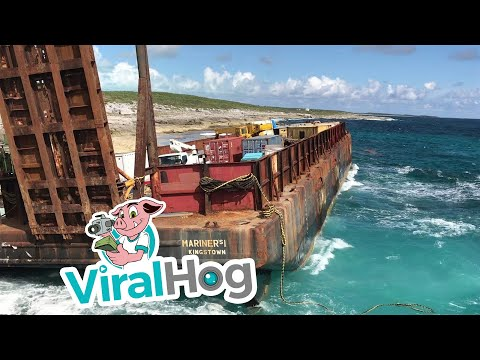 Barge Stranded on Long Island Bahamas || ViralHog