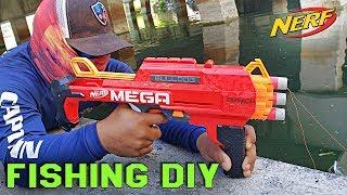 MEGA NERF Toy Catches AQUARIUM Fish!!! Fishing DIY