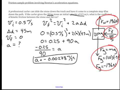 Friction, and Newton's acceleration equations: physics ... Acceleration Physics