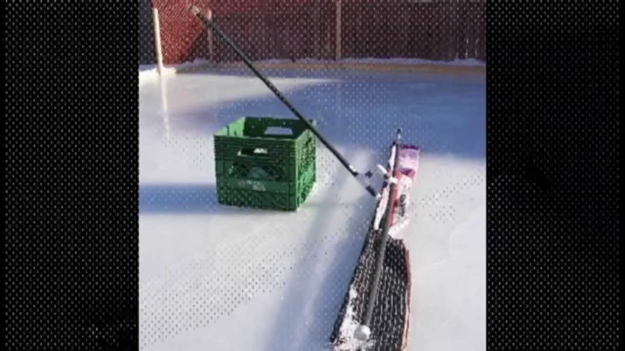 backyard ice rink rink rake youtube