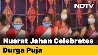 Watch: Trinamool's Nusrat Jahan Dances, Plays Dhak For Durga Puja