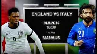 England vs Italy in the 2014 World Cup in Brazil Live