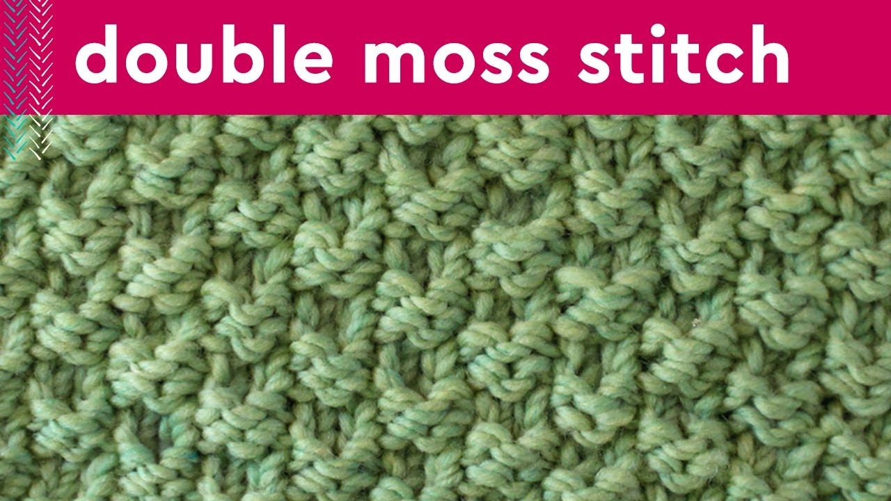 DOUBLE MOSS KNIT STITCH PATTERN Easy for Beginning Knitters - YouTube