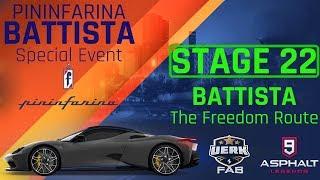 Asphalt 9 | Pininfarina BATTISTA SE | STAGE 22 | 1.47.231 The Freedom Route