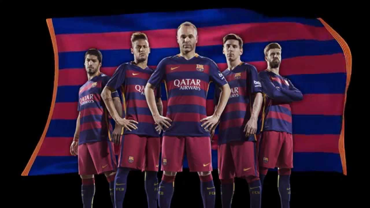 Nike and FC Barcelona unveil bold new home and away kits for 2015-16 -  YouTube c56d7a327