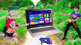 Couple Pretty Girl Go Fishing Nerf Guns Fight Criminal Dispute Magic Laptop Battle   Moon Nerf War