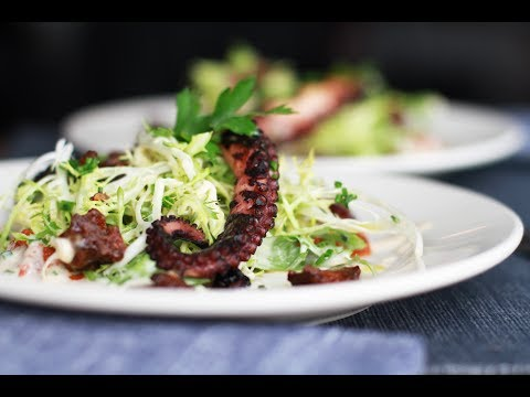 Andrew Zimmern Cooks: Grilled Octopus With Frisee Salad