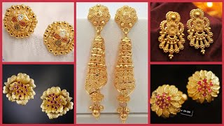 Gorgeous and stylistic gold long earrings designs ideas /gold stud earrings designs ideas