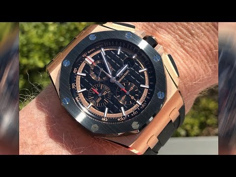 Audemars Piguet Royal Oak Offshore Chronograph 26401RO Black dial pink gold luxury watch on wrist
