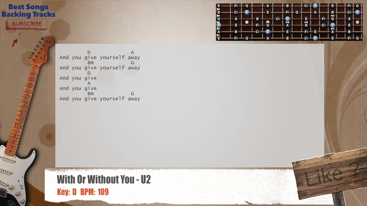 With Or Without You U2 Guitar Backing Track With Chords And Lyrics