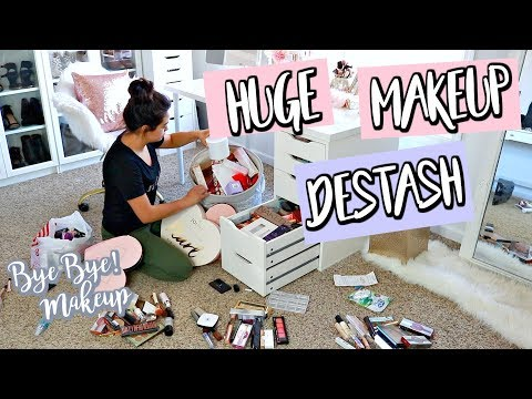 HUGE MAKEUP DESTASH & ORGANIZATION | VANITY TOUR