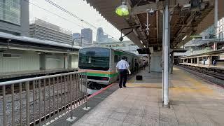 湘南新宿ラインE233系U224編成+E231系U503編成宇都宮線直通[快速]宇都宮行き新宿駅入線