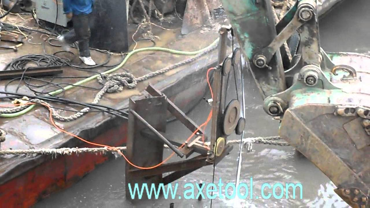 underwater wire saw concrete cutting project video - YouTube