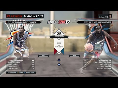 NBA 2K17 - 06-07 Wizards vs 15-16 Thunder - Game Highlights - Arenas big game not enough