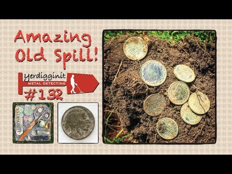 Amazing 100 Year Old - 8 Coin Spill Metal Detecting At The City Park!