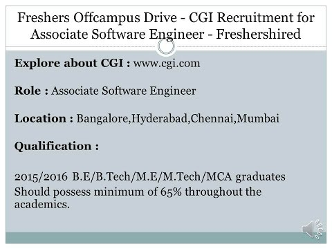 Freshers Offcampus Drive   CGI Recruitment for Associate Software Engineer   Freshershired
