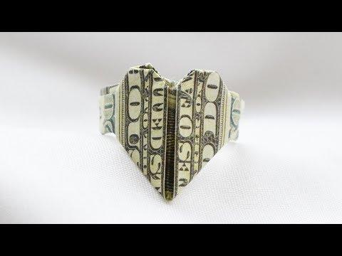 Money RING Heart Origami Dollar Tutorial DIY