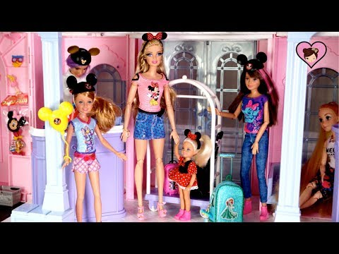 Barbie & Chelsea Travel Morning Routine -  Disney Hotel Dollhouse