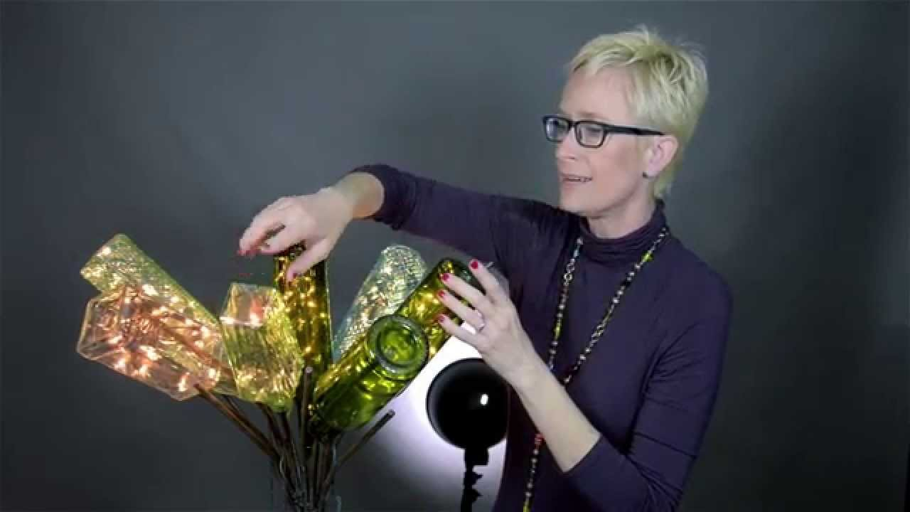 Diy crafts wine bottle lights and a bottle tree youtube for How to make a wine tree