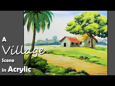 Acrylic Painting | How to Paint A Village Landscape
