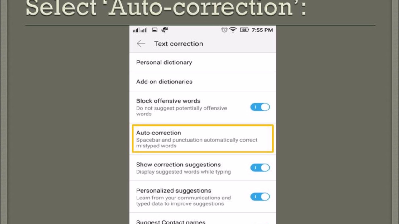How to disable Auto Correction of Android keyboard