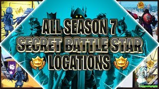 ALL OF SEASON 7 SECRET BATTLE STAR & BANNER LOCATIONS (Snowflake Challenge)| Fortnite: Battle Royale