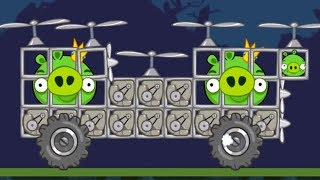Bad Piggies - SILLY MONSTER HELICOPTER CARRYING KING PIG!