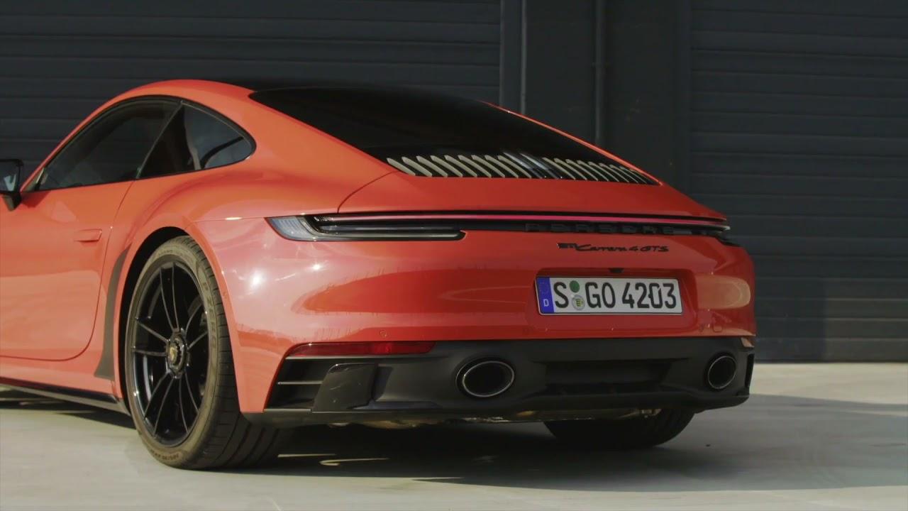 The new Porsche 911 Carrera 4 GTS Coupe Design Preview in Lava Orange