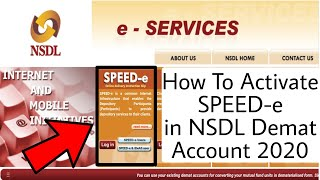 How To Activate Speed E In Nsdl Demat Account 2020 Youtube