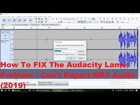 audacity error could not open mp3 encoding library