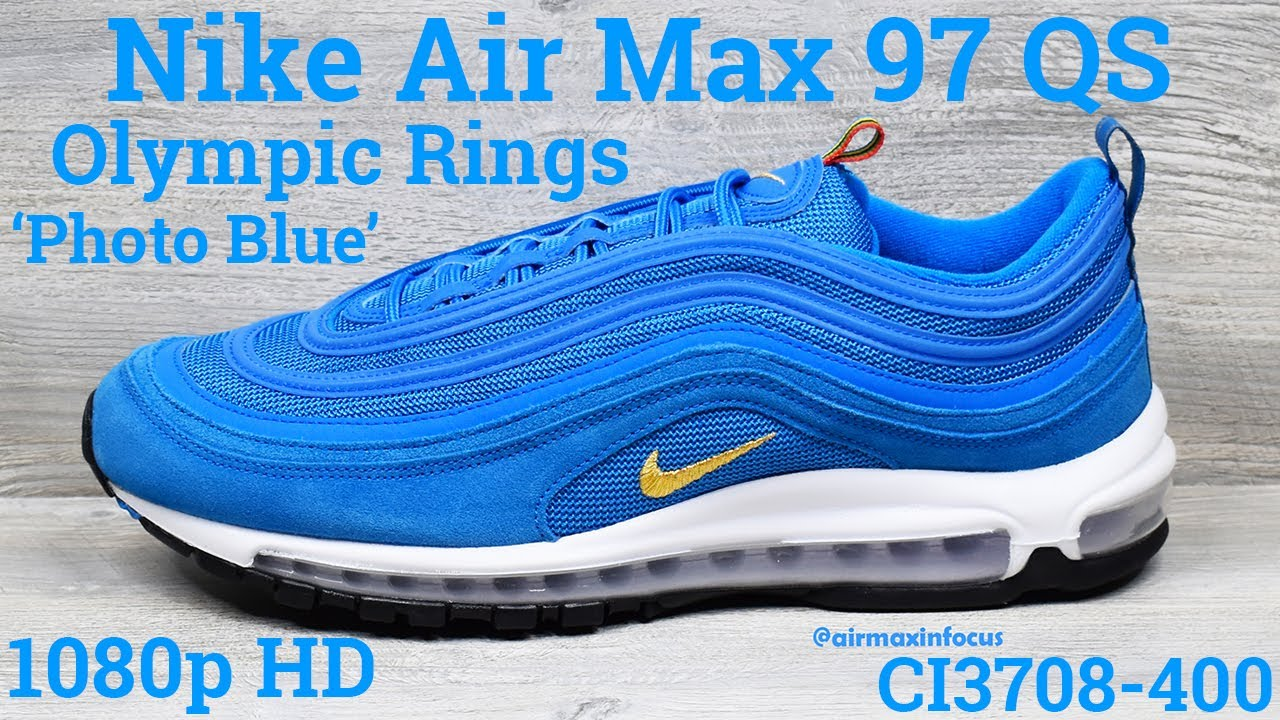 victoria Metáfora Disgusto  Nike Air Max 97 QS Olympic Rings Pack 'Photo Blue' CI3708-400 (2020) An  Unboxing and Detailed Look! - YouTube