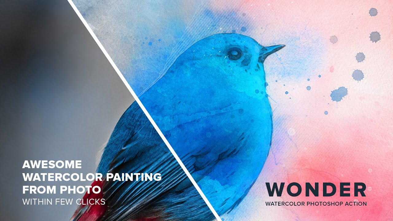 Wonder Watercolor Photoshop Action Tutorial Video | Easy To Use