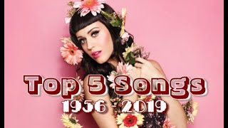 Top 5 Worldwide Hits Of Each Year (1956 - 2019)