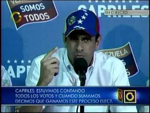 Henrique Capriles pide al CNE que detenga proclamación del candidato Maduro