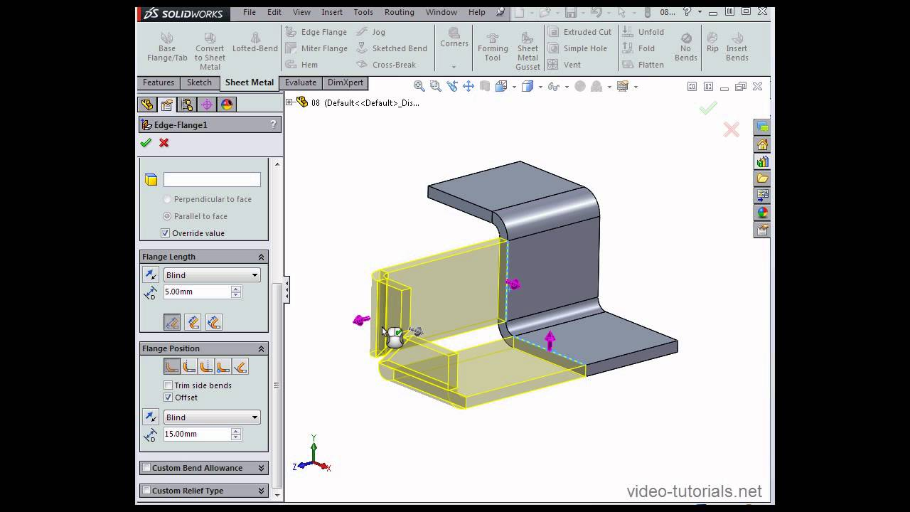 How To Trim Side Bends Solidworks Tutorials Sheet Metal