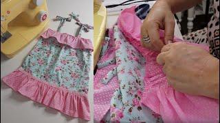 Como fazer Vestido com Babado e Alcinha Infantil