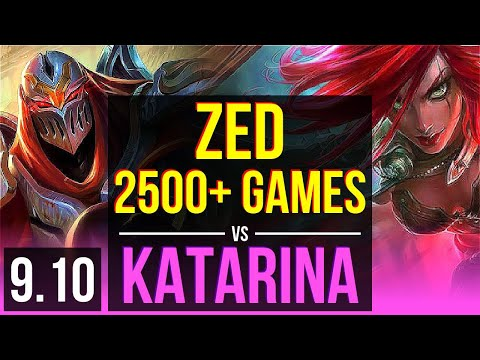 ZED Vs KATARINA (MID)   2500+ Games, 10 Solo Kills, 2 Early Solo Kills   Korea Diamond   V9.10