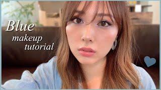 ちょっと濃いめのブルーメイク💙前髪も切りました🙋♀️/Blue Makeup Tutorial!/yurika