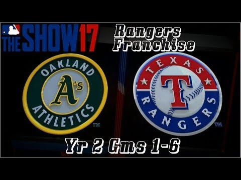 MLB 17 The Show Texas Rangers Franchise Yr 2 - gms 1-6