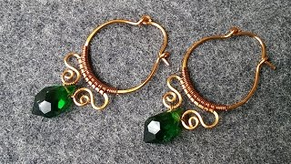 Copper wire earring - How to make wire jewelry 151