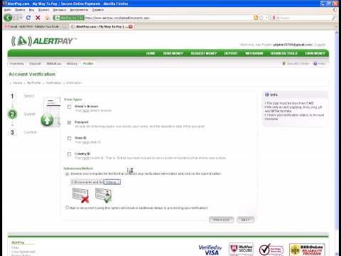 Видео урок по регистрации акаунта в Alertpay часть 2