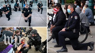 Police officers across the U.S. kneel, pray alongside protesters