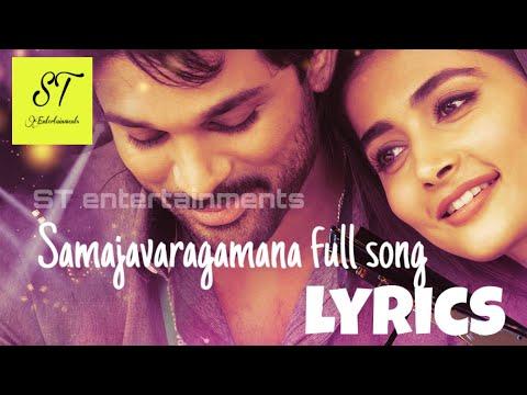 Samajavaragamana Full Song Lyrics  Sid Sriram  Allu Arjun  Trivikram  Pooja Hegde  Thaman
