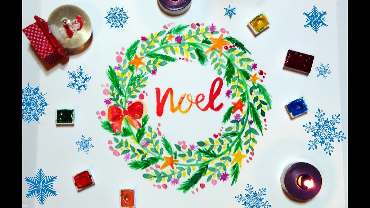 Diy Watercolor Christmas Wreath Easy Tutorial Youtube