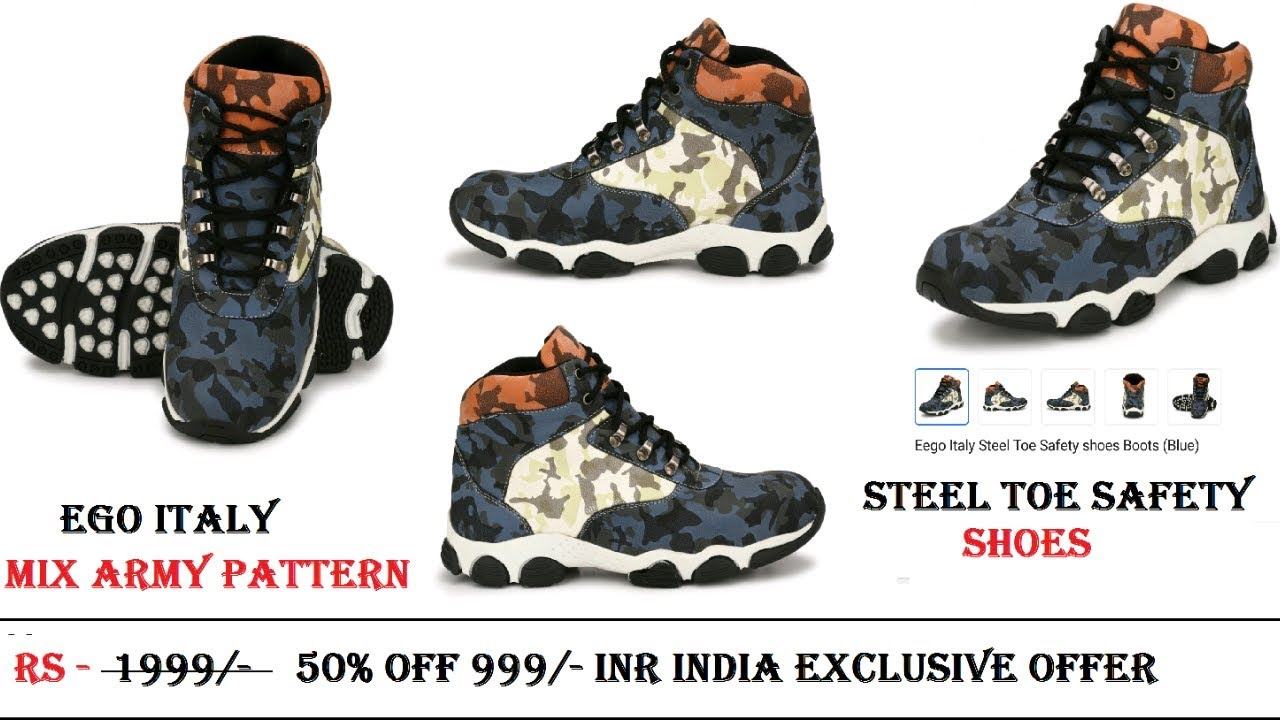 Unbox brand new Ego Italy Steel Toe Safety shoes Boots (Blue )/ Stylish Mix  army pattern shoes /army