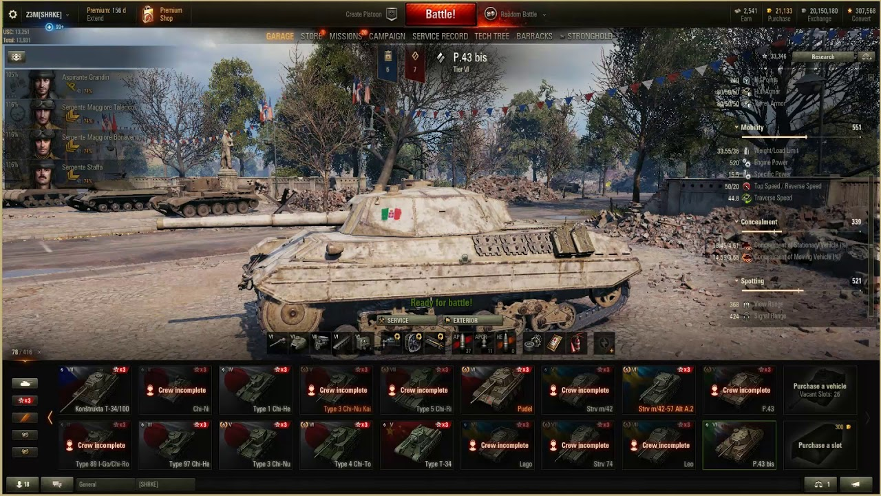 A 43 Wot world of tanks. p 43 bis. italian tier 6. review and gameplay.